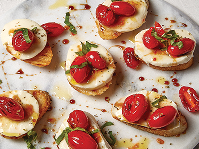 Mozzarella Crostini & Grilled Tomatoes